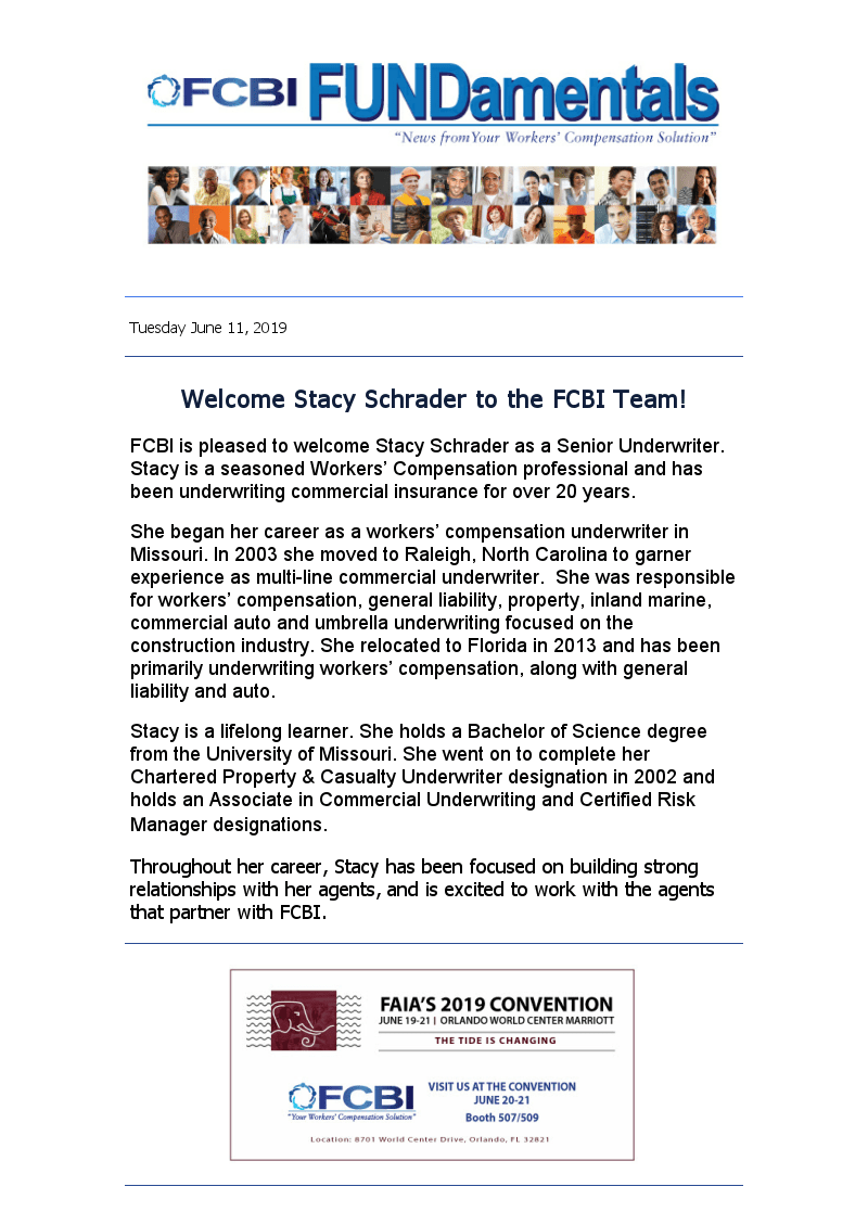 Welcome Stacy Schrader to the FCBI Team!