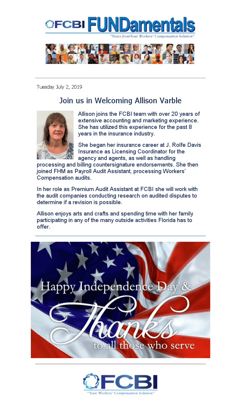Welcome Allison Varble + Happy 4th